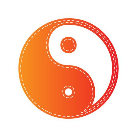 harmony: Ying yang symbol of harmony and balance. Orange applique isolated. Illustration