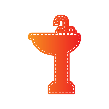 necessity: Bathroom sink sign. Orange applique isolated. Illustration