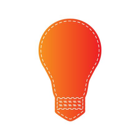 sign orange: Light lamp sign. Orange applique isolated.