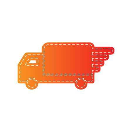 removal van: Delivery sign illustration. Orange applique isolated.