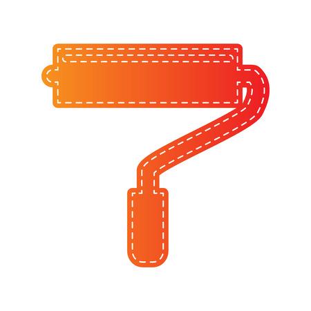 adorn: Roller sign illustration. Orange applique isolated.