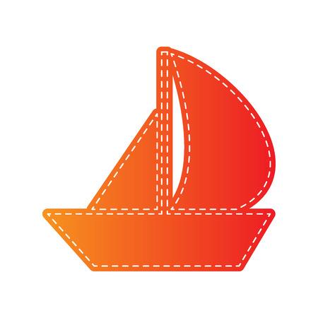 sail boat: Sail Boat sign. Orange applique isolated. Illustration