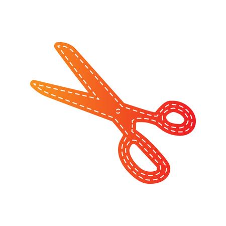 scissors cutting paper: Scissors sign illustration. Orange applique isolated.