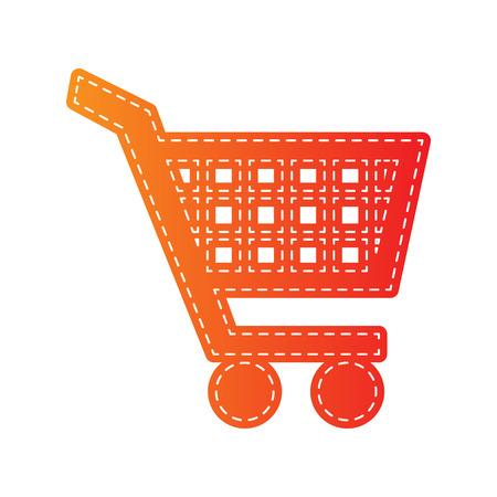 sign orange: Shopping cart sign. Orange applique isolated.