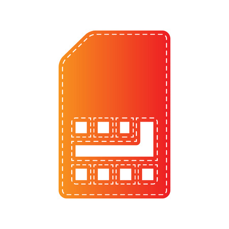 sim card: Sim card sign. Orange applique isolated.