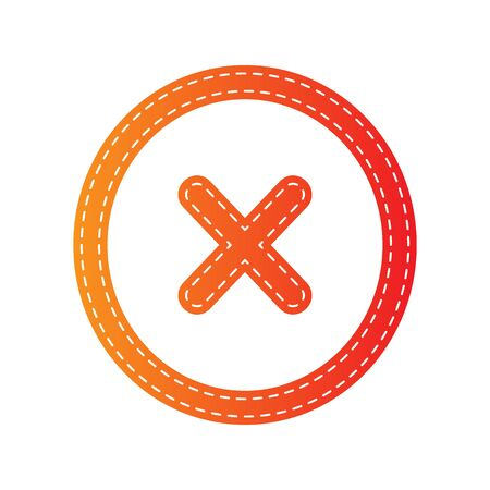 voted: Cancel sign illustration. Orange applique isolated.