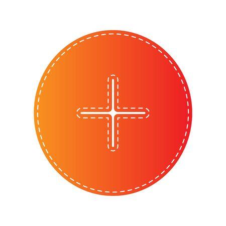 sign orange: Positive symbol plus sign. Orange applique isolated. Illustration