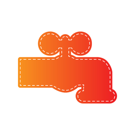 spew: Water faucet sign illustration. Orange applique isolated.