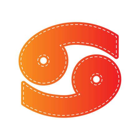 ecliptic: Cancer sign illustration. Orange applique isolated.