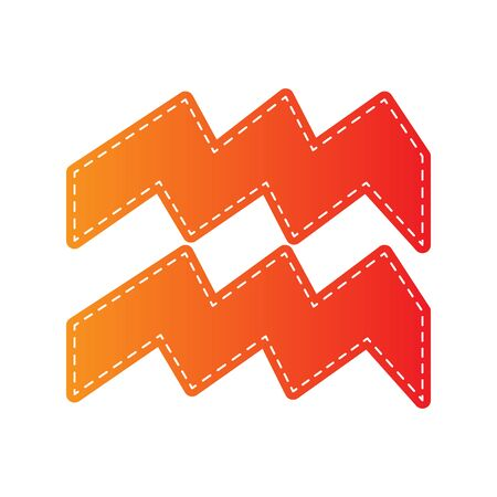 ecliptic: Aquarius sign illustration. Orange applique isolated.