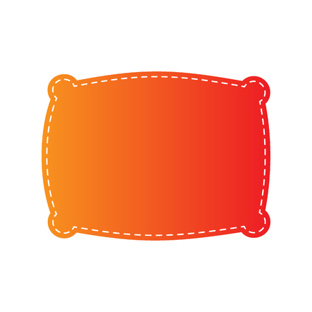 spongy: Pillow sign illustration. Orange applique isolated.
