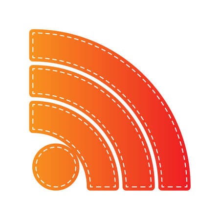 rss sign: RSS sign illustration. Orange applique isolated.