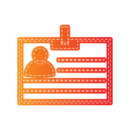 recognizing: Id card sign. Orange applique isolated. Illustration
