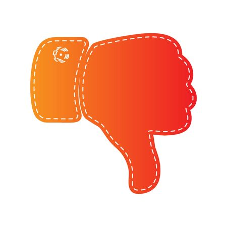 disapprove: Hand sign illustration. Orange applique isolated. Illustration
