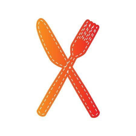 sign orange: Fork and Knife sign. Orange applique isolated.