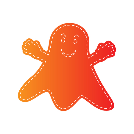 ghastly: Ghost isolated sign. Orange applique isolated. Illustration