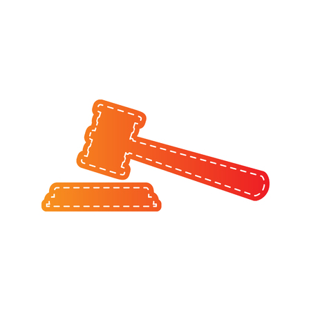 auctioneer: Justice hammer sign. Orange applique isolated.