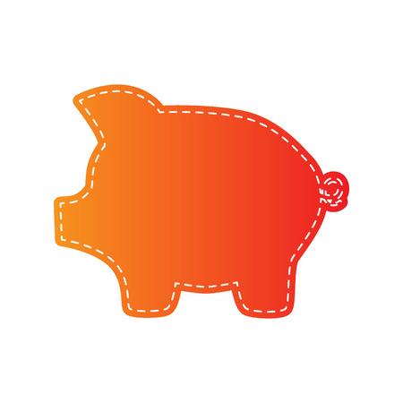 dolar: Pig money bank sign. Orange applique isolated.