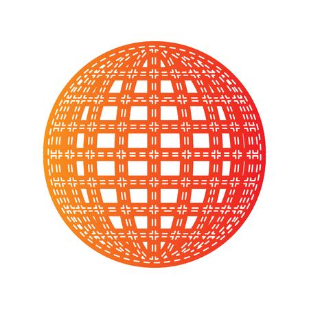 sign orange: Earth Globe sign. Orange applique isolated. Illustration