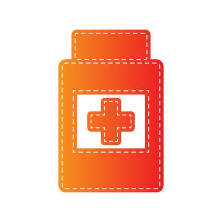 sign orange: Medical container sign. Orange applique isolated.