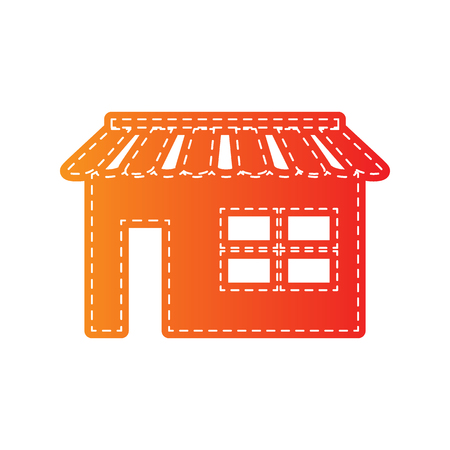 outdoor goods: Store sign illustration. Orange applique isolated.
