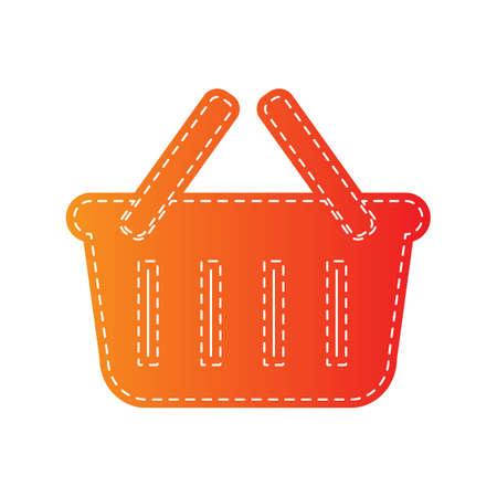 shopping basket: Shopping basket sign. Orange applique isolated. Illustration