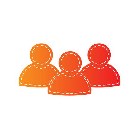 sign orange: Team work sign. Orange applique isolated. Illustration