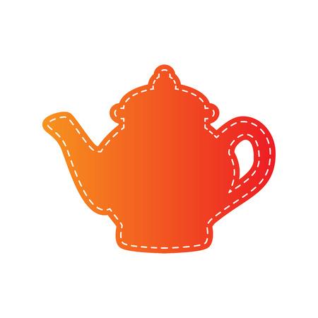 sign maker: Tea maker sign. Orange applique isolated.