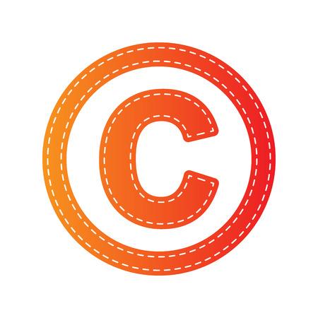 duplication: Copyright sign illustration. Orange applique isolated.