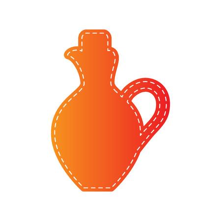 amphora: Amphora sign illustration. Orange applique isolated.