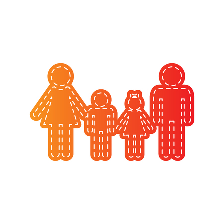 family isolated: Family sign. Orange applique isolated.