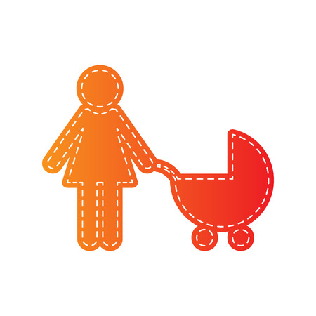 family isolated: Family sign illustration. Orange applique isolated.