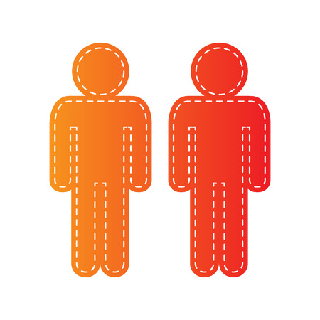 gay family: Gay family sign. Orange applique isolated. Illustration