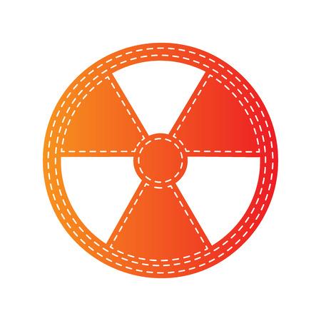 Radiation Round sign. Orange applique isolated.