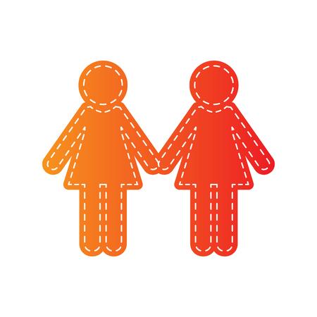 sign orange: Lesbian family sign. Orange applique isolated.