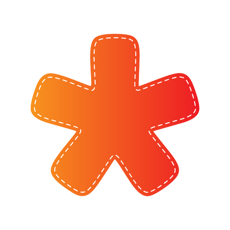 reference point: Asterisk star sign. Orange applique isolated.