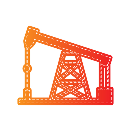 drilling rig: Oil drilling rig sign. Orange applique isolated.