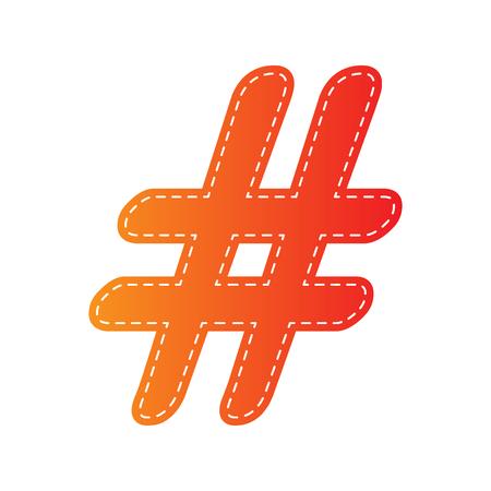 Hashtag sign illustration. Orange applique isolated. Illustration