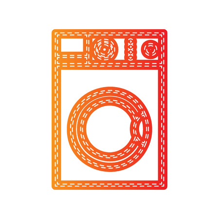 major household appliance: Washing machine sign. Orange applique isolated.