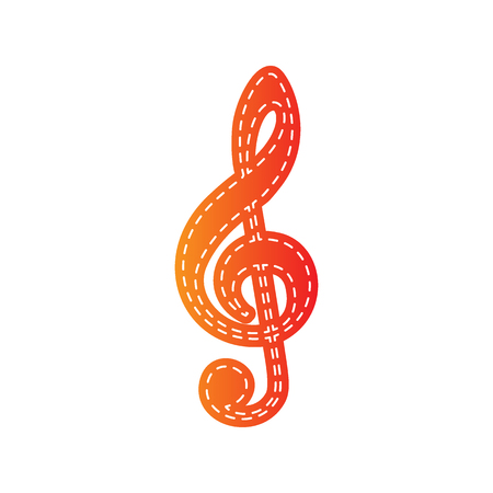 gclef: Music violin clef sign. G-clef. Treble clef. Orange applique isolated.