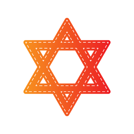 magen david: Shield Magen David Star. Symbol of Israel. Orange applique isolated.