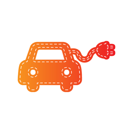 automobile industry: Eco electric car sign. Orange applique isolated.