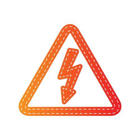 sign orange: High voltage danger sign. Orange applique isolated.