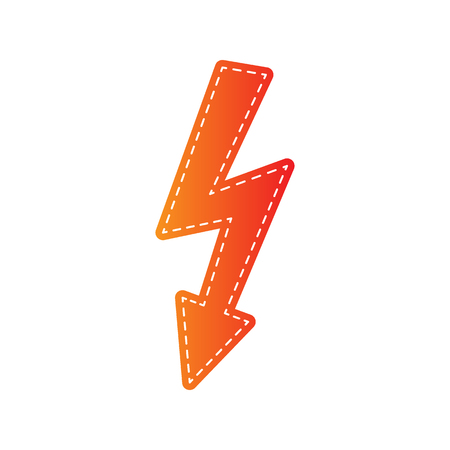 volte: High voltage danger sign. Orange applique isolated.