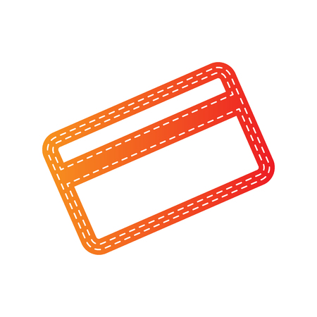 magnetic clip: Credit card symbol for download. Orange applique isolated.