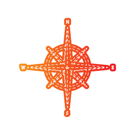 sign orange: Wind rose sign. Orange applique isolated. Illustration