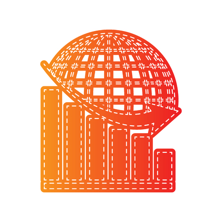 stock market crash: Declining graph with earth. Orange applique isolated. Illustration