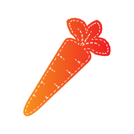 delectable: Carrot sign illustration. Orange applique isolated.