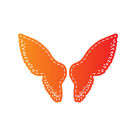 Wings sign illustration. Orange applique isolated.