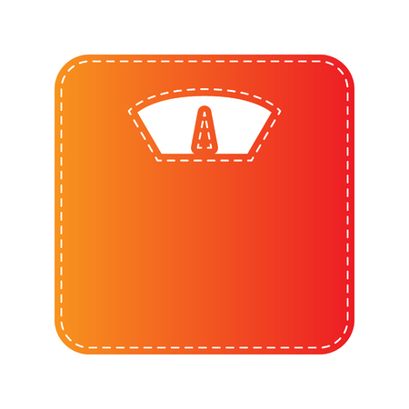 analog weight scale: Bathroom scale sign. Orange applique isolated.